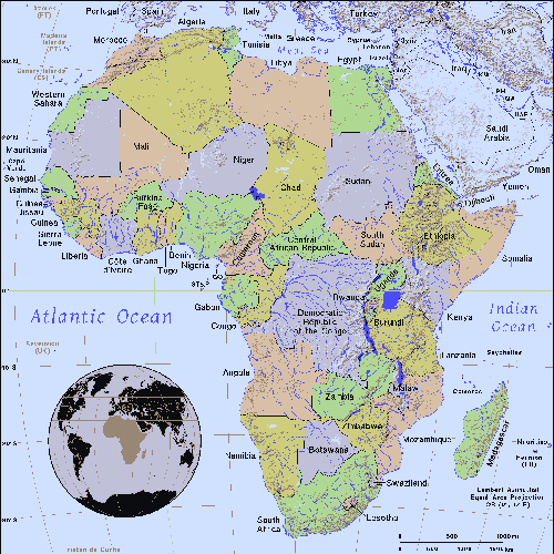 map of Africa, inset globe highlights the continent