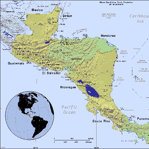 map of Central America, inset globe highlights the continent