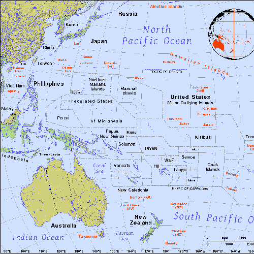 map of the Pacific Rim, including Indonesia and Papua New Guinea; inset globe highlights the region