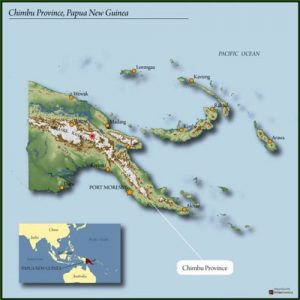 map of Papua New Guinea highlighting Chimbu region