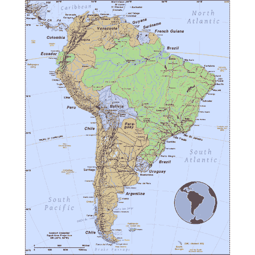 map of South America, inset globe highlights the continent
