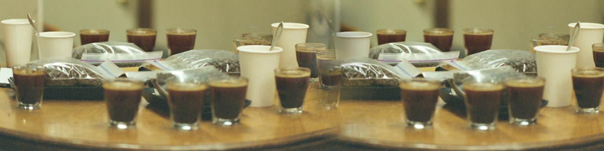 A table covered in espresso shots and bags of roasted coffee beans