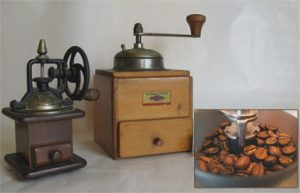 Two vintage hand grinders; inset of beans in a burr grinder bowl