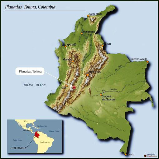 map of Columbia highlighting Tolima region