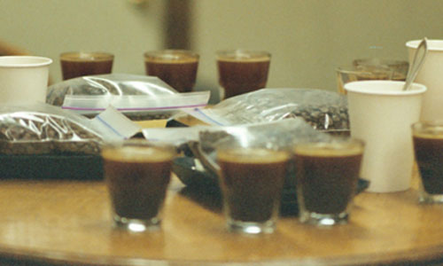 """A table covered in espresso shots and bags of roasted coffee beans"