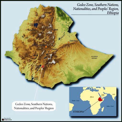 map of Ethiopia highlighting Yirgacheffe region