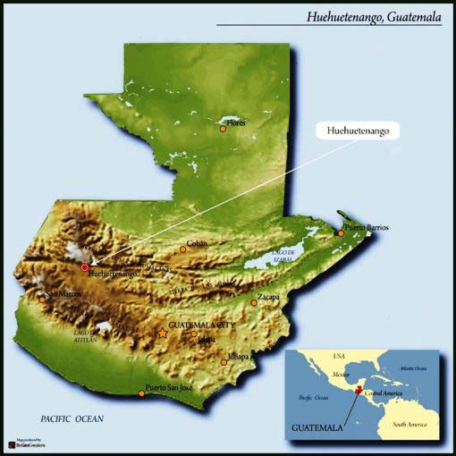map of Guatemala highlighting Huehuetenango region