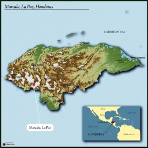 map of Honduras highlighting Marcala region