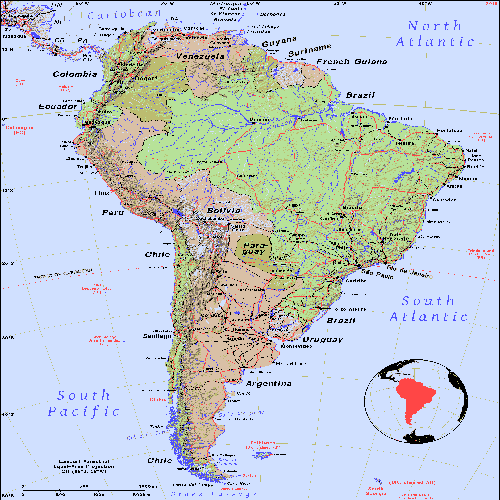 map of South America, inset glob highlighting the continent